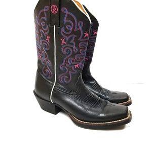 Tony Lama 3R Collection Stockman Black Pink 7 1/2B
